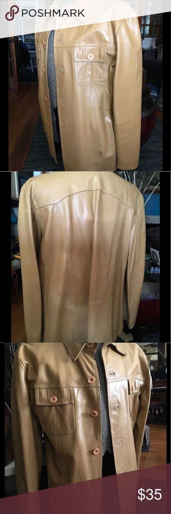 Men's Vintage Camel Leather Jacket Vintage top stitch Genuine leather jacket. Button flap chest pockets. Slant pockets at waist. Satin lined. Italian made. Size 54. Comparable to a size 44 or XL Jackets & Coats