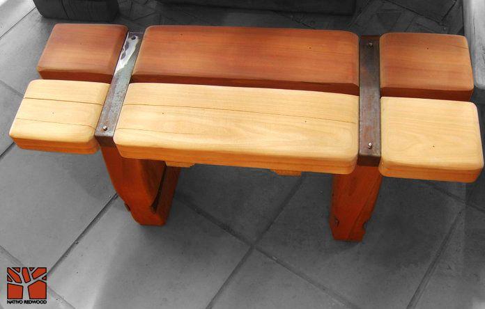Nativo Redwood. Banca de roble rústico con  flejes de fierro forjado. Dimensiones: 0.35x0.90 www.facebook.com/nativoredwoodsa