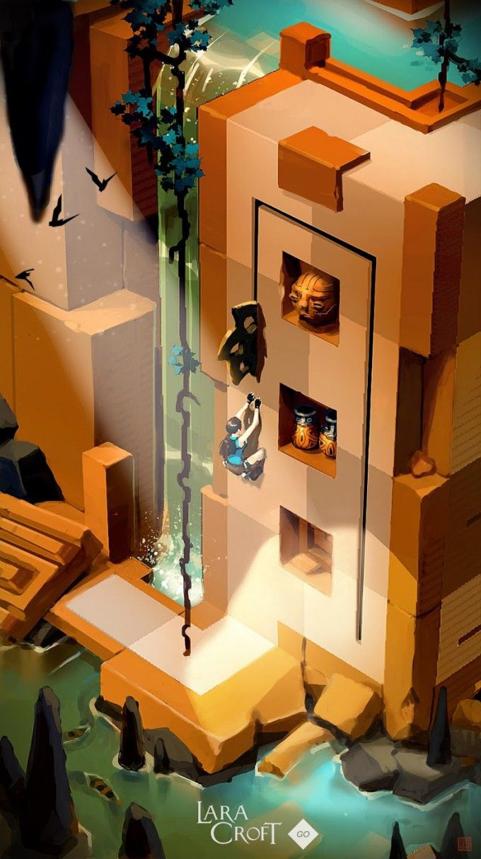 Lara Croft Go Concept Art by Thierry Doizon