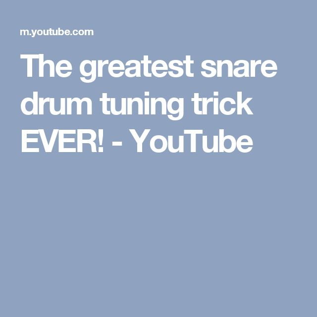 The greatest snare drum tuning trick EVER! - YouTube