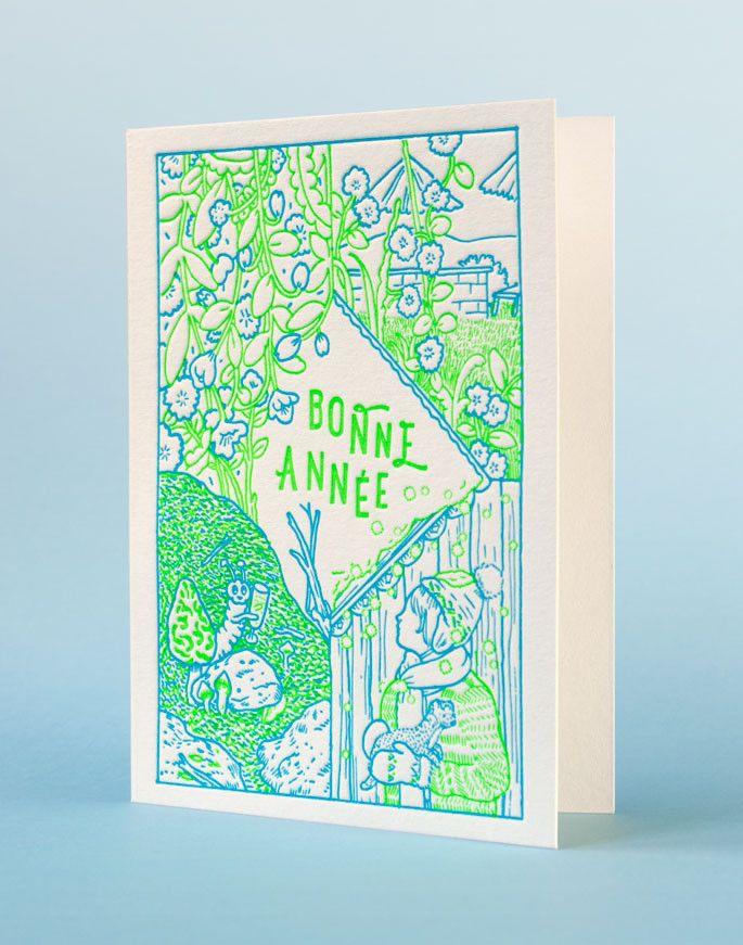 Carte de voeux impression letterpress, illustration Amandine Meyer. Édition Letterpress de Paris