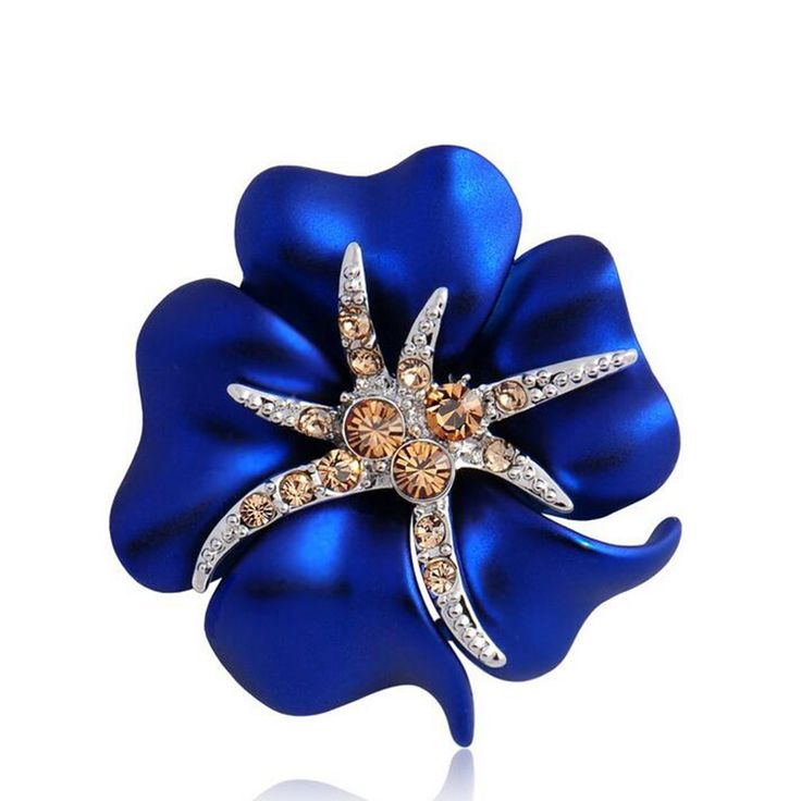 Gold Color Blue Enamel Flower and Starfish Small Jewelry Pin Brooch with Crystals