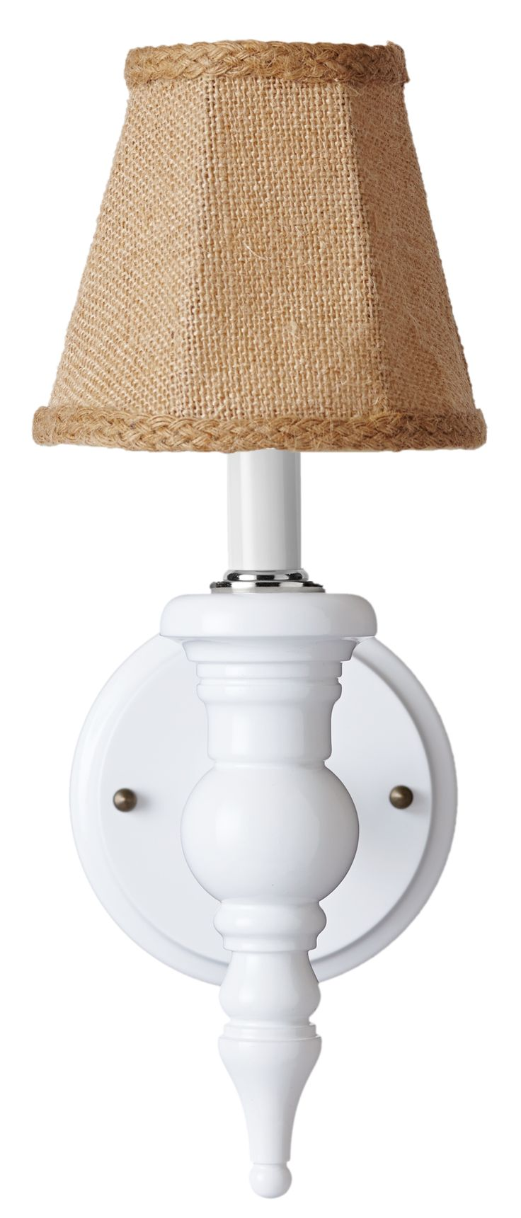 Dunes And Ss Cupcake Sconce White With Burlap Shade