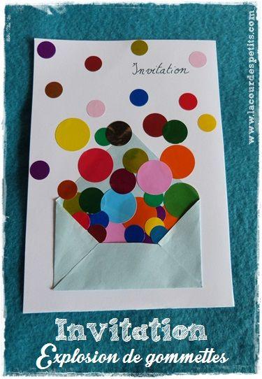 Des invitations d'anniversaire en couleur  http://www.lacourdespetits.com/invitation-anniversaire-couleur/ Une jolie carte d'invitation réalisée avec mon fils de 6 ans pour son anniversaire sur le thème des couleurs. Les gommettes sont de sortie !