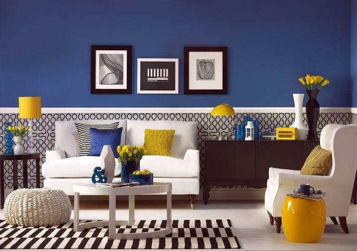 Насыщенный синий цвет в дизайне интерьера