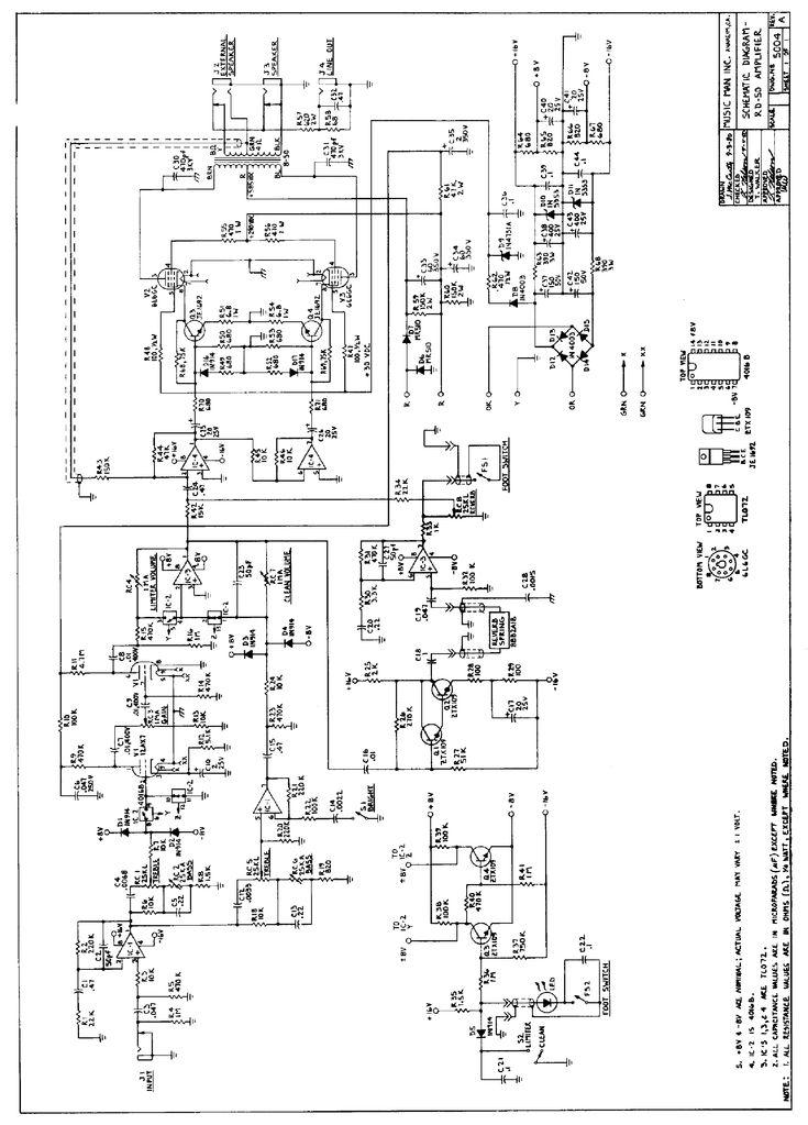 MUSICMAN RD-50 REVERB AMPLIFIER 1980 SCH Service Manual