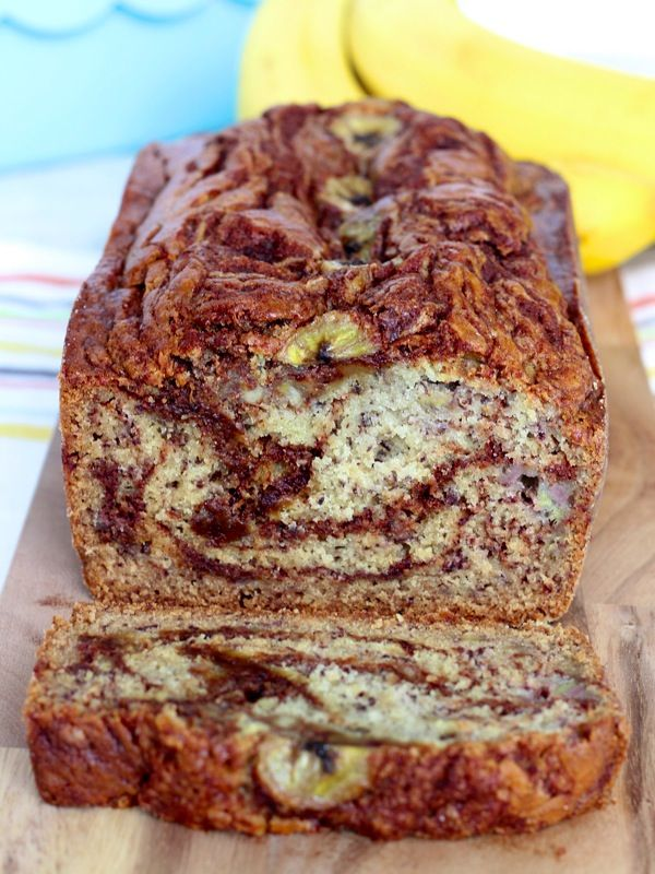 Cinnamon Swirl Banana Bread. I think I'll add some diced apples into this recipe too!