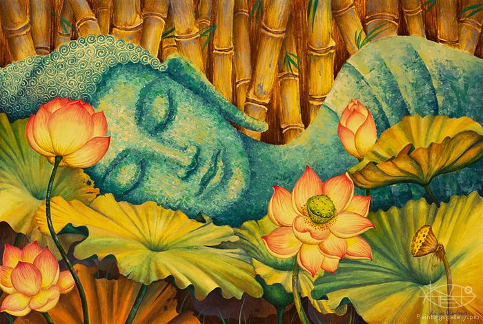 """Our sorrows and wounds are healed only when we touch them with compassion."" — Buddha / buda dormido art"