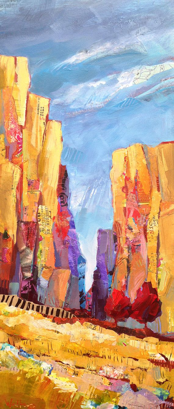 """Shelli Walters - """"Conversations With Rocks"""", 16x40,  mixed media, acrylic paint on gallery wrapped canvas"""