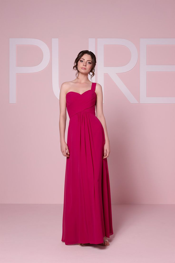 This asymmetrical bridesmaid dress from Pure Bridesmaid has a romantic sweetheart neckline and then leads to a long flowing skirt.