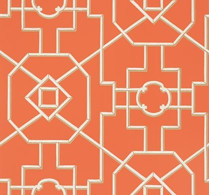 Bamboo Lattice Coral wallpaper by Thibaut -Similiar items In stock now at local shop Annex of paredown, in Ann Arbor