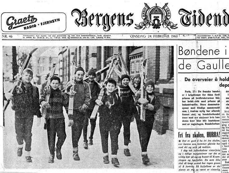Fra BT Onsdag 24. februar 1960. Fra venstre: Eigil Netland, Arild Thorstensen, Per Gunnar Iversen, Knut Pedersen, Rolf Johannesen, Helge Sætre, Per Arne Netland og Tor Leknes.