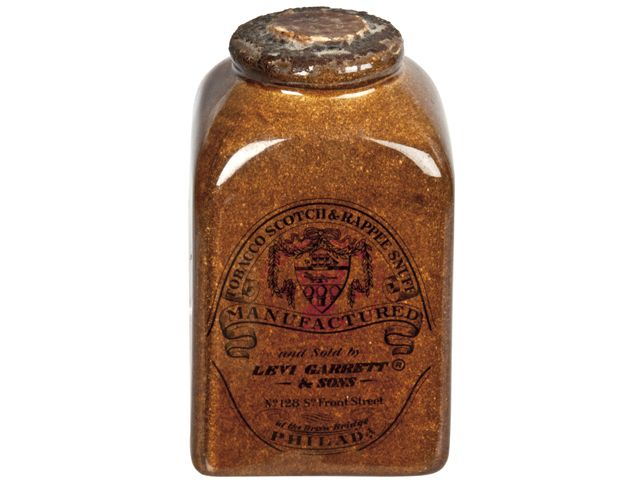 Antique Levi Garrett Scotch & Rappee Snuff Tobacco Crock - Relique