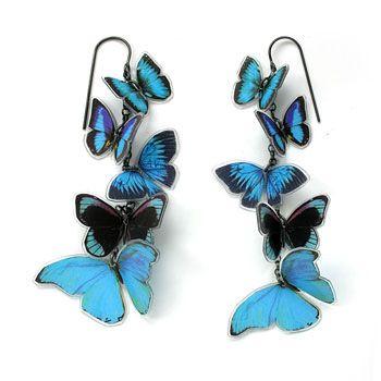 Grainne Morton :: Contemporary Handcrafted Earrings and Cufflinks :: Multi Butterfly Earrings