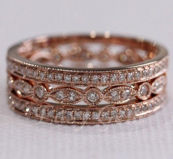 3 RINGSET Rose Gold Ring Rose Gold Wedding Ring Diamond by EasyGem, $598.00