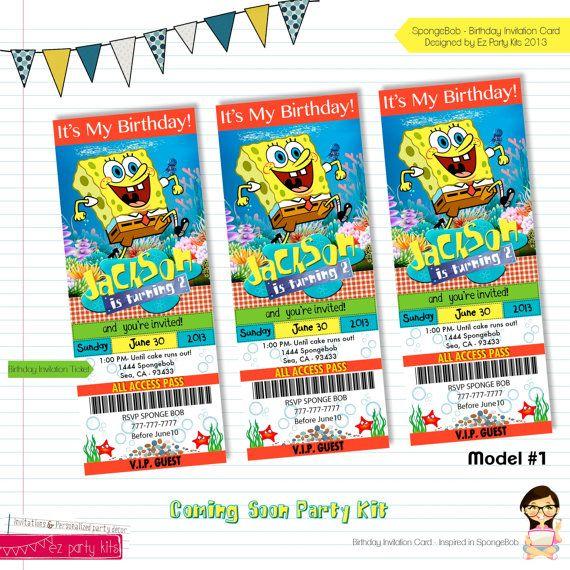 Spongebob Birthday  Spongebob Invitation Card by EZPARTYKITS
