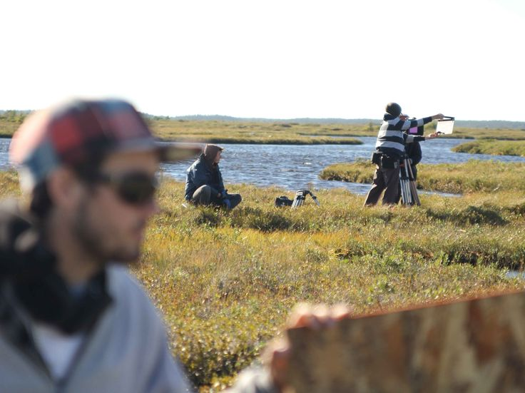 BEHIND THE SCENES: Puyjalon Plain, North Shore of Quebec. Soundman Dominik Heizmann in foreground.