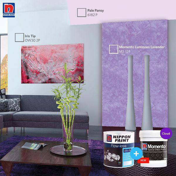 Warna biru dan ungu pada ruangan akan memberikan kesan yang mewah. Kombinasikan dengan Nippon Momento akan memberikan sentuhan personal yang elegan. Lihat variasi Nippon Momento Special Effect Paint lainnya di http://bit.ly/Nippon-Momento  #ImajinasiTanpaKompromi