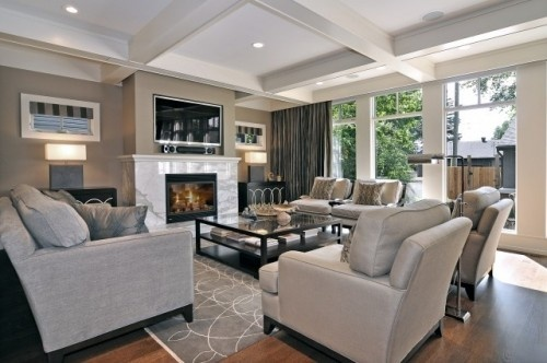 Sophisticated living space with coffered ceiling.Decor, Ideas, Living Rooms, Contemporary Living Room, Living Room Design, Colors, Livingroom, Interiors Design, Families Room