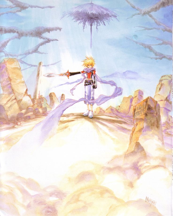 Kyle Dunamis from Tales of Destiny 2 illustration by Mutsumi Inomata