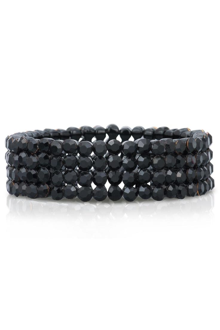 Svart armband med swarovskikristaller.  *Black bracelet with swarovski crystals