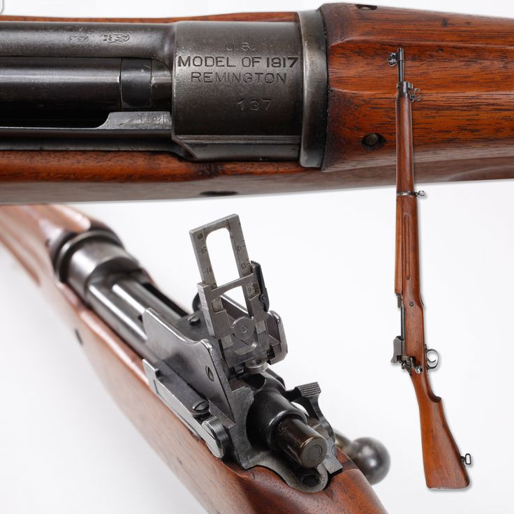 Remington M1917 Rifle - This Remington M1917 rifle was likely manufactured on the first day of production. With a low serial number of 137, this .30-'06 bolt-action was the 2nd gun purchased by the NRA Museum. This piece has 2 brothers with the same serial number, as the 3 factories that made the Model 1917; Winchester in CT 2 Remington facilities in NY PA, all began serializing from No. 1 upwards. Winchester M1917, SN 1 was presented to President Woodrow Wilson. NRA Museum in Fairfax, VA