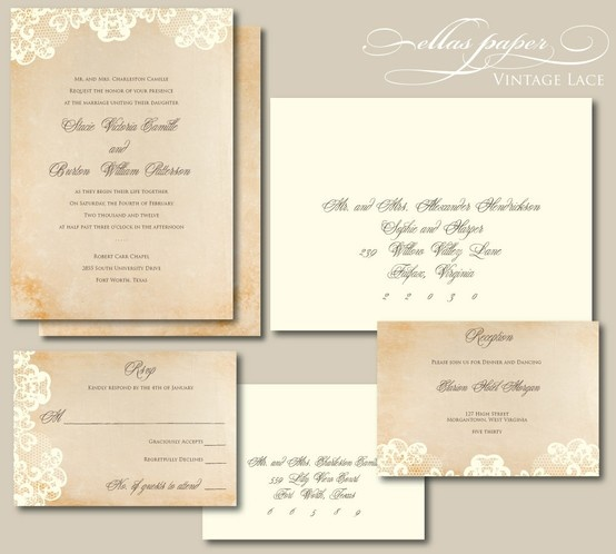 Lace Wedding Invitation - Vintage Lace - Lace Wedding Invitation - Vintage Lace  Repinly Weddings Popular Pins