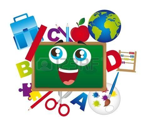 chalkboard cartoon with school elements isolated. vector