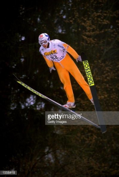 Nicolas Dessum of France during the Mens Ski Jumping Event in the Skiing World Championships in Ramsau Austria Mandatory Credit Allsport UK /Allsport