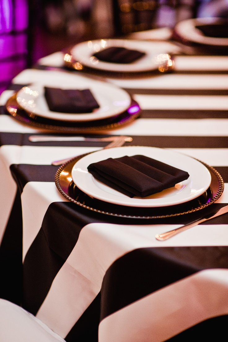 Black and white stripe charger plates - Stripe Linen With Black Chargers White Plates And Black Napkins In Pocket Fold