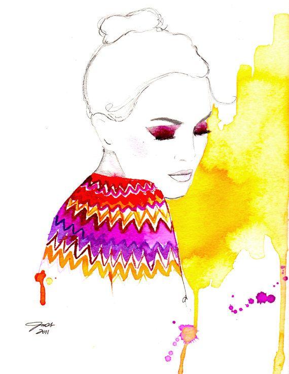 Watercolor Fashion Illustration Chevron by JessicaIllustration, $25.00