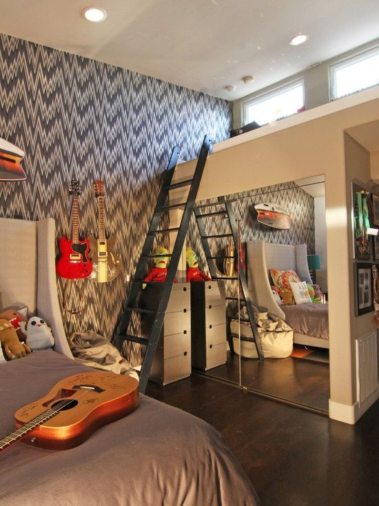 Like my daughter, I have no idea if I will have a son and if he will like what I like. If he did, I can imagine a room like this for him. With guitars hanging from the walls, he would love music like me! The pattern on the wall and bed looks simple and could use a paint job. The other bed lays on top of the loft and even has a ladder!