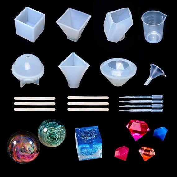 6 Pack Resin Casting Molds Large DIY Silicone Craft Mold Jewelry...