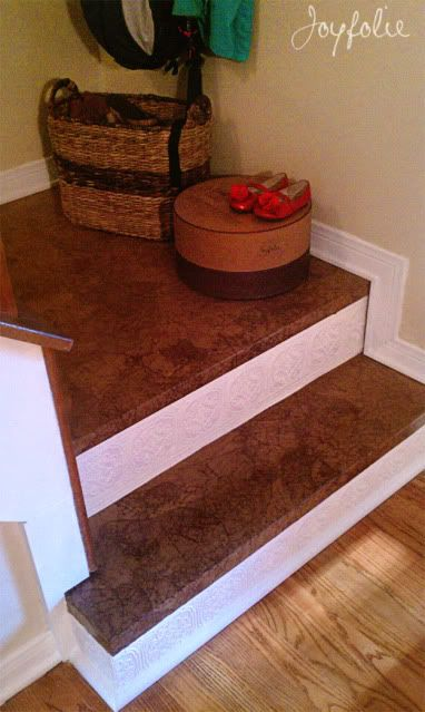 stairs refinished with paper bags