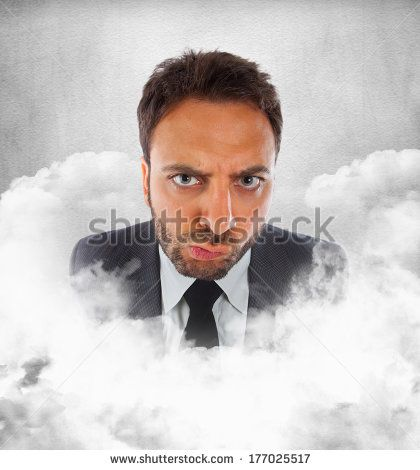 Young businessman in the clouds with expression of indecision.
