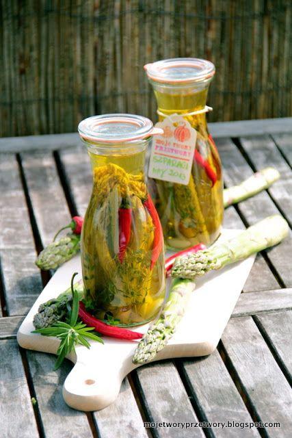 MojeTworyPrzetwory: Szparagi marynowane w oliwie