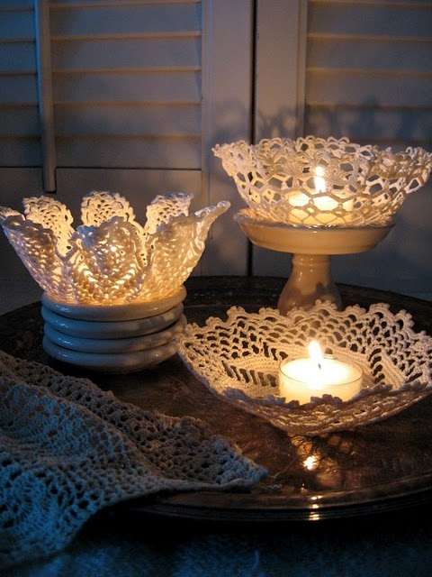 lace doily candleholder tutorial : Crafts Ideas, Doilies Candles, Lace Doilies, Crochet, Candle Holders, Candles Holders, Teas Lights, Diy, Doilies Bowls