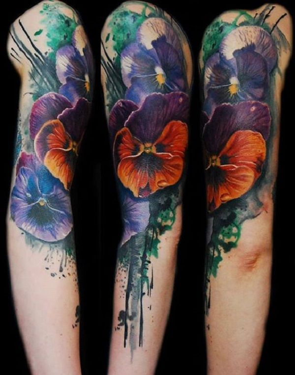 Orchid Flower Sleeve tattoo. Looking for a sleeve tattoo? This one is a great tattoo to get.