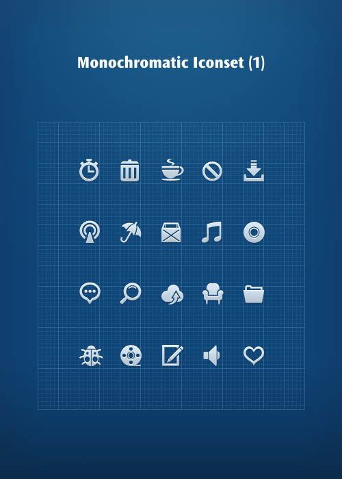 Single Color Small Icons Design PSD Files - Hative