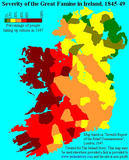Severity of the Famine in 1847. Farmers in the east depended on cereal crops, those in Ulster grew flax, only small farms of west and partts of Munter potatoe in a monopolistic position. 30% of Irish wholly dependant on potatoes for food.