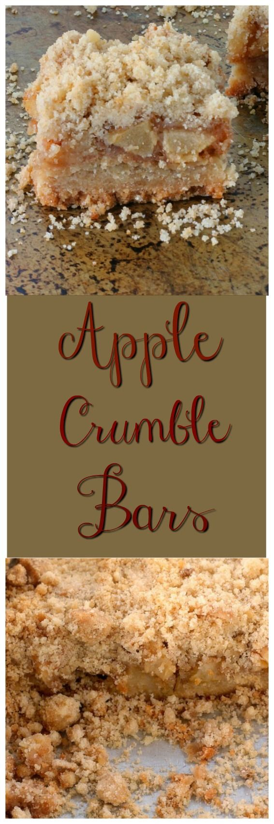 Apple Crumble Bars are crumbs from top to bottom.  The bottom layer is crumbs, the apples are coated with crumbs and the topping is crumbs.