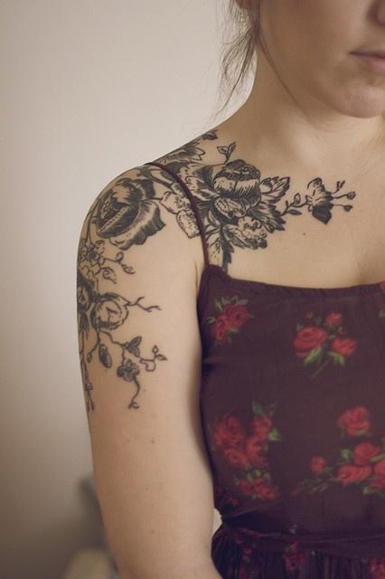 flowers on shoulder; botanical drawing style