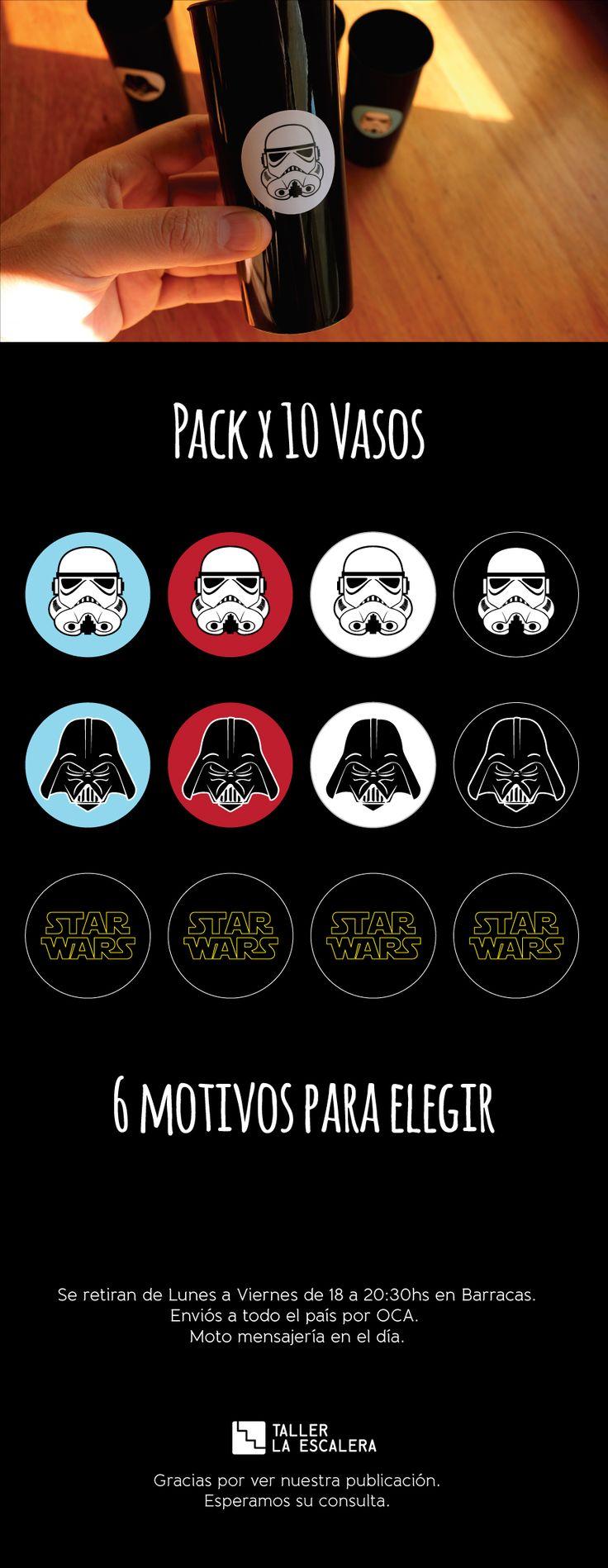 Vasos Star Wars - Cumpleaños Souvenirs Deco - Pack X 10 - $ 100,00