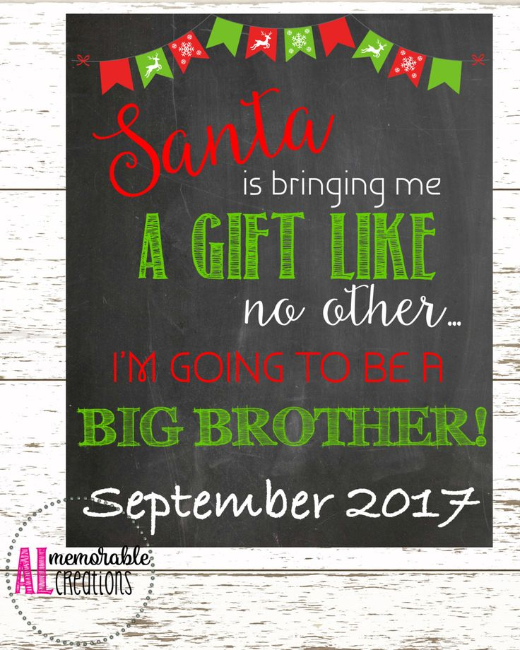 Christmas Pregnancy Announcement/Promotion to Big Brother/Expecting Baby Number 2 Chalkboard/Dated September 2017/Pregnancy Chalkboard by ALMemorableCreations on Etsy