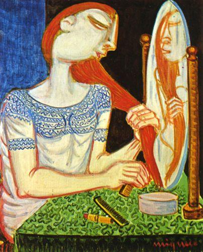 Giuseppe Migneco Donna allo specchio, 1972 Olio su tela, cm 49x39