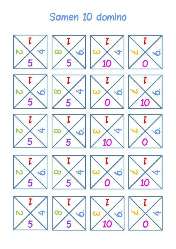 De samen-10 sommen horen bij de basis van het rekenen. Hoe beter deze sommen geautomatiseerd zijn, hoe vlotter het rekenen gaat. Dit domino-spel is een leuke manier om de samen-10 sommen te oefenen.Het spel-element en de beweging helpen bij het automatiseren.De kleuren corresponderen met de samen-10 regenboog. De kaartjes kun je afdrukken op karton, uitknippen …