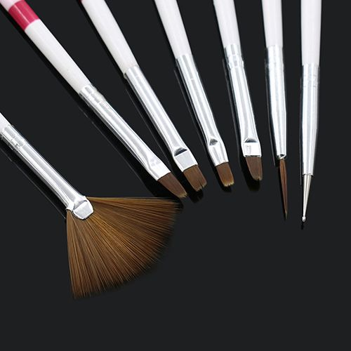 High Quality 7Pcs Drawing Painting Dotting DIY Brushes Acrylic Tips Liner Nail Art Pens Set 6YK5 7H6F ACB8
