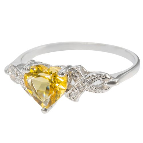 Sterling Silver Citrine Heart Ring with CZ Accents $44 - purejewels.com.au
