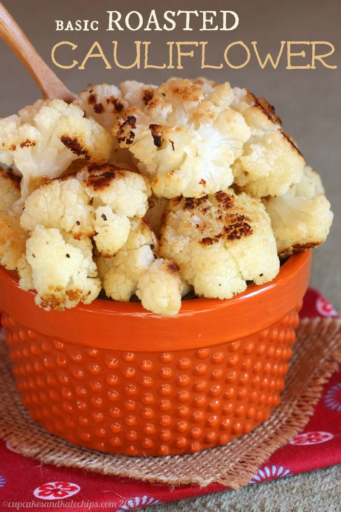 Basic Roasted Cauliflower - my tips and tricks for how to roast cauliflower and have it turn out perfect every time! | cupcakeskalechips.com | #glutenfree #vegetable #vegan