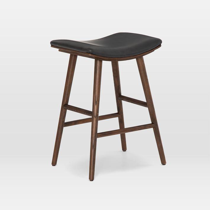 Oak Wood & Upholstered Saddle Bar & Counter Stools ...